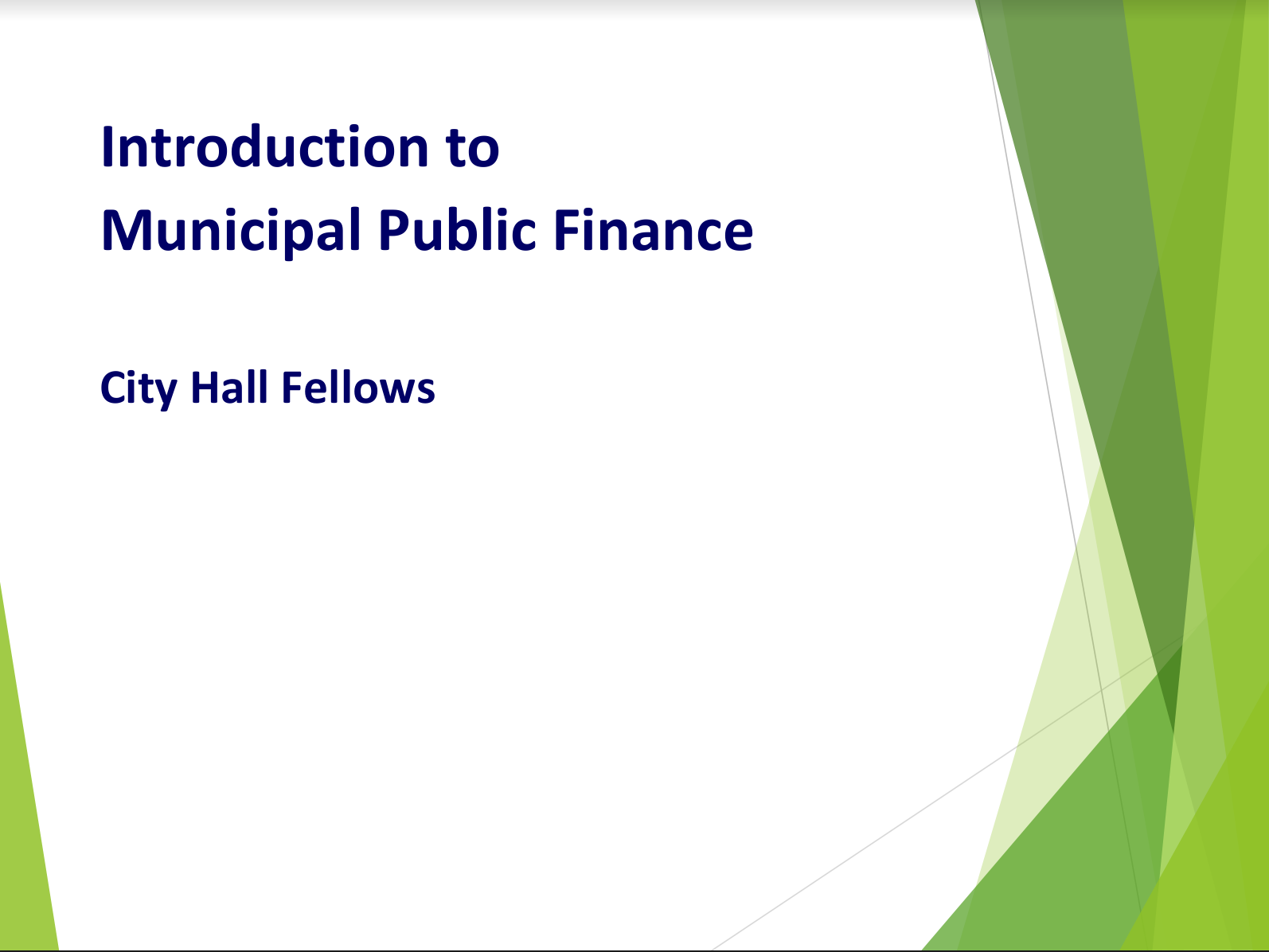 Introduction to Municipal Public Finance